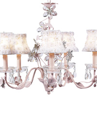 Petal Flower Chandelier Shades on Crystal Flower Chandelier - White/Pink by