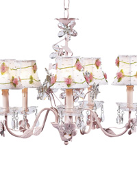 Net Flower Chandelier Shades on Crystal Flower Chandelier - Pink by