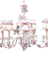 Plain Chandelier Shades w/Sash on Flower Garden Chandelier - White/Pink by