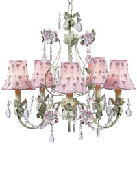 Daisy Pearl Chandelier Shades on Flower Garden Chandelier - Pink/Green by