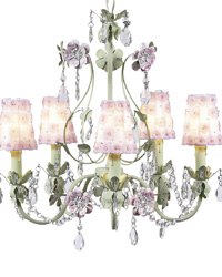 Petal Flower Sconce Shades on Flower Garden Chandelier - White/Pink/Green by