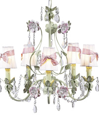 Plain Chandelier Shades w/Sash on Flower Garden Chandelier - White/Pink/Green by