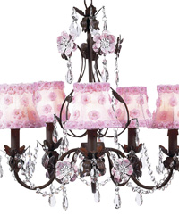 Petal Flower Chandelier Shades on Flower Garden Chandelier - Pink/Mocha by