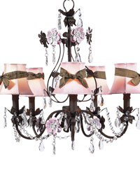 Plain Chandelier Shades w/Sash on Flower Garden Chandelier - Pink/Brown/Mocha by