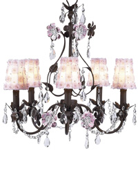 Petal Flower Sconce Shades on Flower Garden Chandelier - White/Pink/Mocha by