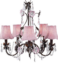 Glass Beaded Fabric Shades on Flower Garden Chandelier - Pink/Mocha by