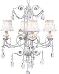Petal Flower Chandelier Shades on Valentino Chandelier - White by