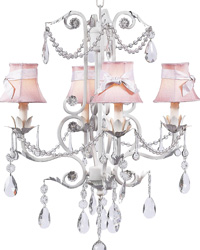 Plain Chandelier Shades w/Sash on Valentino Chandelier - Pink/White by