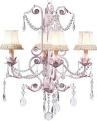 Flower Border Chandelier Shades on Valentino Chandelier - Pink/Green by