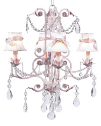 Plain Chandelier Shades w/Sash on Valentino Chandelier - White/Pink by