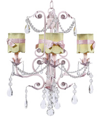 Scallop Drum Chandelier Shades w/Sash on Valentino Chandelier - Green/Pink by