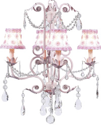 Petal Flower Chandelier Shades on Valentino Chandelier - White/Pink by