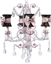 Hourglass Chandelier Shade w/Sash on Valentino Chandelier - Pink by