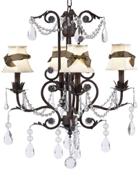 Plain Chandelier Shades w/Sash on Valentino Chandelier - Ivory/Brown/Mocha by
