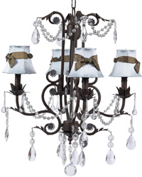 Plain Chandelier Shades w/Sash on Valentino Chandelier - Blue/Brown/Mocha by