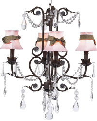 Plain Chandelier Shades w/Sash on Valentino Chandelier - Pink/Brown/Mocha by