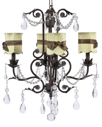 Scallop Drum Chandelier Shades w/Sash on Valentino Chandelier - Green/Brown/Mocha by