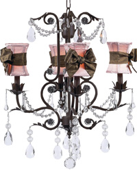 Hourglass Chandelier Shades w/Sash on Valentino Chandelier - Pink/Brown/Mocha by