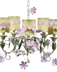 Petal Flower Chandelier Shade on 5 arm Chandelier - Pink/Green by