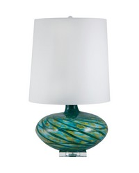 Blue Swirl Glass Table Lamp by