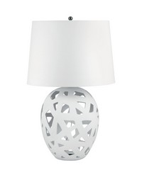 White Bisque Straps Table Lamp by