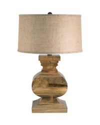 Solid Wood Curved Block Table Lamp by