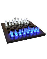LED Glow Chess Set Blue White by
