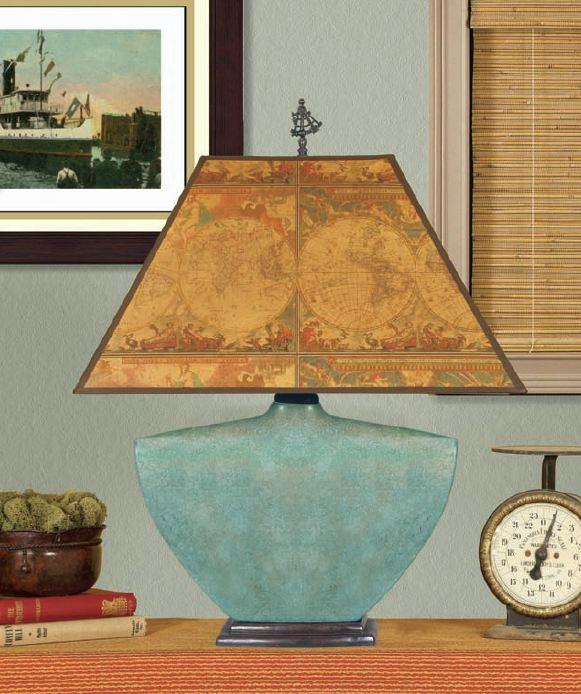 Mario Lamps Mottled Turquoise Ceramic Table Lamp Antique Maps Shade Search  Results