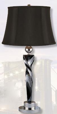 Mario Lamps Blackened Chrome Twist Table Lamp Black Silk Shade Search Results