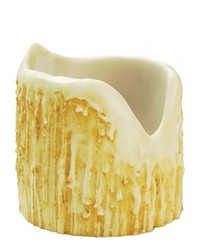 4in W X 4in H Poly Resin Ivory Uneven Top Candle Cover 100531 by