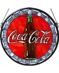 Coca-Cola Bottle Cap Medallion Stained Glass Window by