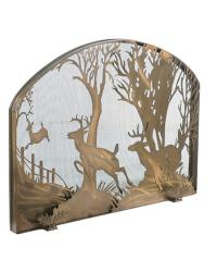 Deer On The Loose Arched Fireplace Screen by