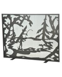 Fly Fishing Creek Fireplace Screen by