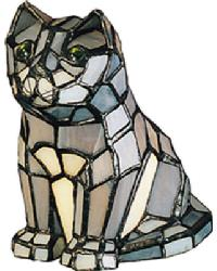 Cat Tiffany Glass Accent Lamp 11323 by
