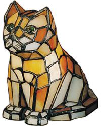Cat Tiffany Glass Accent Lamp 11332 by