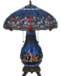 Tiffany Hanginghead Dragonfly Lighted Base Table Lamp by