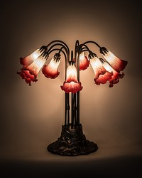 22in H Pink White Pond Lily 10 LT Table Lamp by