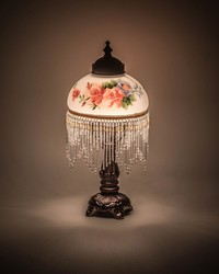 13in  High Rose Bouquet Fringed Mini Lamp 16578 by