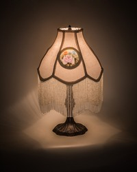 20in H Reverse Painted Roses Fabric with Fringe Table Lamp by