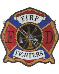 Fireman Shield Stained Glass Window by