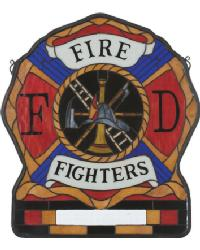 Personalized Firemans Shield Stained Glass Window by