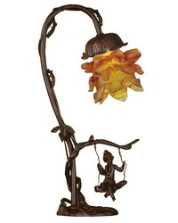 16in H Cherub On Swing Accent Lamp by
