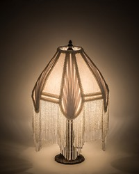 17.5in  High Fabric  Fringe Arbesque Table Lamp 200478 by