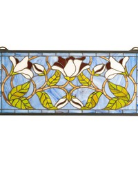 25in  Wide X 11in  High Magnolia Stained Glass Window by