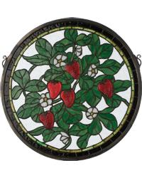 Strawberry Medallion Stained Glass Window by