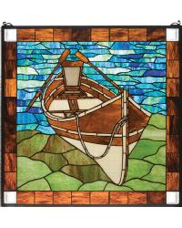 Beached Guideboat Stained Glass Window by