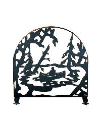 Canoe At Lake Arched Fireplace Screen by