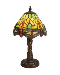 12in H Tiffany Hanginghead Dragonfly w  Twisted Fly Mosaic Base Mini Lamp 26614 by