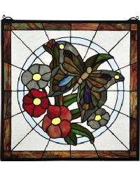 Butterfly Floral Stained Glass Window by