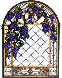 Grape Diamond Trellis Stained Glass Window 38656 by